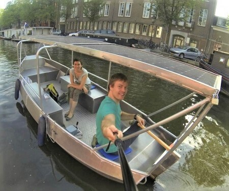 Covered canal boat hire Amsterdam