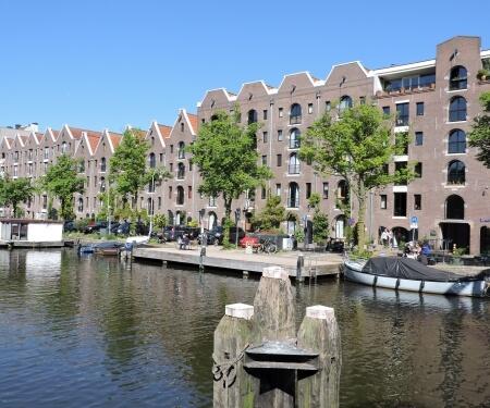 Entrepotdok canal Amsterdam storage houses