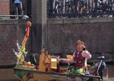 Famous musician on boat Amsterdam canals